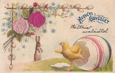 Easter-1905-fantasy-chicken-rabbit-roses-luck-flowers