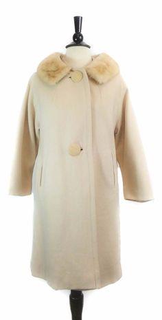 Einiger Virgin Wool Ivory Mink Collar Dress Coat VINTAGE #Einiger #Dresscoat #jacket #coat #vintage #fashion #style #shopping