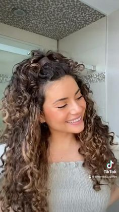 Natural Curly Hairstyles, Hairdos For Curly Hair, Curly Hair Styles Easy, Curly Hair Routine, Headband Hairstyles, Easy Hairstyles, Natural Hair Styles, Long Hair Styles, Curly Hair Half Up Half Down