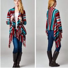 Fringe Cardigan❗️Last One❗️ Cardigan features Aztec print with fringe detail.  Material is 100% acrylic. Prices are firm unless bundled. Sweaters Cardigans