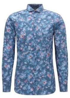HUGO BOSS Floral Cotton Button Down Shirt, Slim Fit Cattitude LBlue