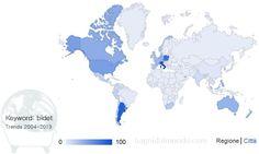 Diffusione del bidet nel mondo - probabile mappa