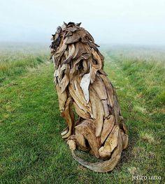 Driftwood Lion Scupture by jeffro-art Driftwood Sculpture, Stone Sculpture, Driftwood Art, Animal Statues, Animal Sculptures, Contemporary Sculpture, Wooden Art, Rock Art, Creative Art