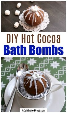 DIY beauty recipes and tips : Illustration Description DIY Hot Cocoa Bath Bombs- These DIY hot cocoa bath bombs are a fun, festive way to relax this holiday season! These would make a wonderful homemade gift! Chocolate Bomb, Hot Chocolate Bars, Mason Jar Crafts, Mason Jar Diy, Diy Home Decor Projects, Diy Projects To Try, Decor Crafts, Homemade Beauty, Homemade Gifts
