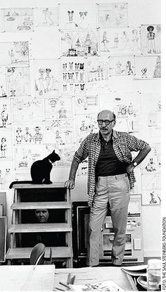 """Saul Steinberg - Saul Steinberg (June 15, 1914 – May 12, 1999) was a Jewish Romanian-born American cartoonist and illustrator, best known for his work for The New Yorker, most notably View of the World from 9th Avenue. He described himself as """"a writer who draws"""""""