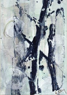 Liz Berg - A Mixed medium collage which includes painting, stamping, silk screening and image transfer