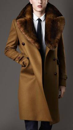 Men's Double Breasted Wool and Kashmir Coat