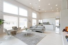 asuntomessut-kontio-laajaranta-1 Interior Design Inspiration, Home Decor Inspiration, White Decor, Minimalist Home, Log Homes, Living Room Furniture, Living Spaces, House Design, Trendy Tree