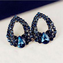 ED002 Novo 2014 moda jóias Brincos Stud Azul Cristal Vintage Para Mulheres Brincos de alta qualidade(China (Mainland))