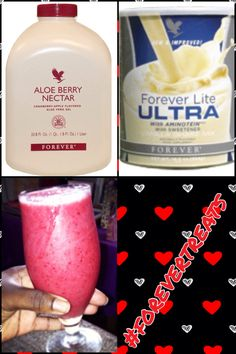 ' Have an Aloe Berry Day Smoothie' this includes  1scoop of  forever Lite Ultra Aminotien  vanilla 1/2 a cup of Aloe Berry Nectar 1 cup of frozen berries  1 frozen Banana  #forevertreats #aloe #forever