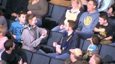 Girl proposes to boyfriend during Kiss Cam : gifs