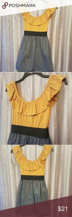 Cute fit and flare mini dress Stretch cotton material on top, mustard colored top, black synched waistline, denim flare bottom, ruffled scoop neckline, low back scoop, short sleeves Mossimo Supply Co. Dresses Mini