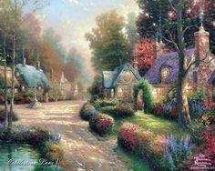 Thomas Kinkade paintnig of colorful, flowering bushes along village road