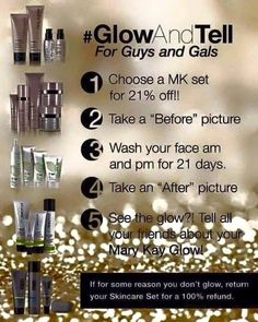 Take the challenge! 21 days and get a 21% discount from me! #glowandtell www.marykay.com/dtgillette