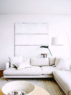 crisp whites | get the look with a Soft White Belgian Linen slipcover from Bemz for an IKEA Söderhamn sofa | www.bemz.com