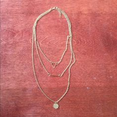 Three tiered Necklace Three Tiered Gold chain necklace. Modern BOHO Jewelry Necklaces