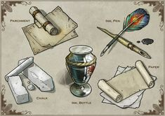 More generic dungeons and dragons items for the card set. Dungeons And Dragons Homebrew, D&d Dungeons And Dragons, Fantasy Weapons, Fantasy Rpg, Prop Design, Game Design, Holy Symbol, Game Props, Fantasy Setting