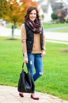 Winter Quilted Vest Outfit with camel cashmere sweater, distressed skinny jeans, plaid scarf, and suede ballet flats