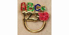 """ABC Pin & Eye Glass Holder Enameled with Siam crystals Glasses not included Gold base metal approx. 1.5"""" X 1.5"""" Click to enlarge"""