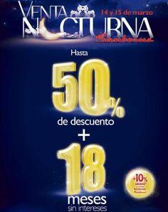 Gran Venta Nocturna Sanborns 2014 Marzo 14 y 15 Gran Venta Nocturna Sanborns:Sanborns nuevamente tendrá su Gran Venta Nocturna Sanborns, ofreciendo hasta 50% de descuento y 18 meses sin intereses + 10% de descuento adicional con crédito revolvente Sanborns. *No aplica en perfumería, rest... -> http://www.cuponofertas.com.mx/oferta/gran-venta-nocturna-sanborns-2014-marzo/