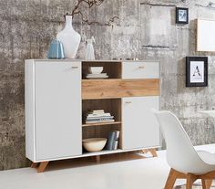 Contemporary 2 drawer and 2 door cabinet in choice of oak effect, white pine effect or matt stone