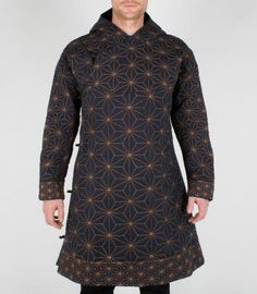 Mens myoshka geo quilted asanoha tibetan coat dark navy x orange at maharishi