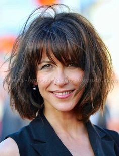 short+hairstyles+over+50+-+Sophie+Marceau+bob+hairstyle+with+bangs