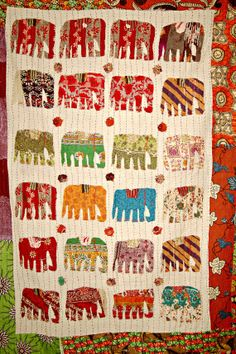 Baby Crib Patchwork Blanket Elephant Applique Kantha Quilt Indian sari Quilted Bedspread,Throws,Ralli,Gudari Handmade Tapestery Bedding  EL5...