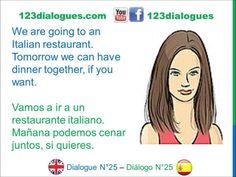 Dialogue 25 Diálogo 25 English Spanish Inglés Español - Dinner - Cena - Lingoacademy.TV
