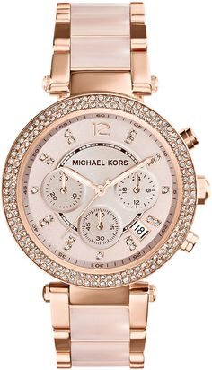 Michael Kors Mid-Size Rose Golden Stainless Steel Parker Chronograph Glitz Watch on shopstyle.com