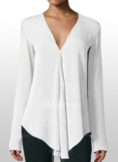 Sewing Blusas Solid Casual V-Neckline Long Sleeve Blouses - Airydress - Sewing Clothes Women, Clothes For Women, Chic Outfits, Fashion Outfits, Pencil Skirt Casual, Professional Outfits, Work Attire, Blouse Styles, Curvy Fashion