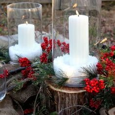 Christmas Table Scape - Inspired by natural elements, I created an outdoor table with rustic yet traditional appeal. Glass cylinder candleholders sit on cedar stumps, pine and berries, burlap and plaid. Chunky stoneware, and delicate glass, I love mixing in unexpected elements. Napkin's are tied with jute and embellished with a jingle bell, twigs and boxwood cuttings. Use Sea Salt or Epsom Salts for the snow.