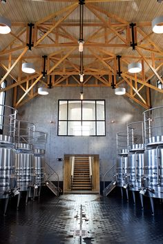 The vat room at RdV Vineyards. Brewery Interior, Cafe Interior Design, Factory Architecture, Architecture Design, Home Distilling, Beer Factory, House Outside Design, Brewery Design, Wine Photography