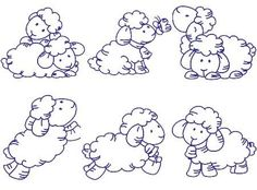 6 blue work sheep Embroidery Designs