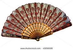 chinese hand fan isolated on white background