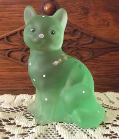 Fenton Green Satin Hand Painted Sitting Cat