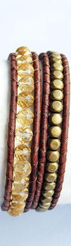 November Birthstone - Citrine. Citrine and Brass Brown Leather Bracelet #November #citrine
