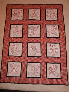 This was made for a staff member @ our school.  I chose red work to simplify the embroidering process.  Twelve embroidered blocks, I pieced the quilt, and one did the quilting.