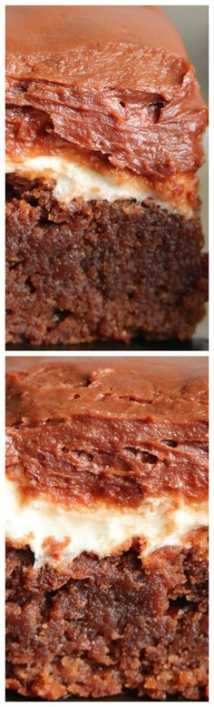 Rocky Road Brownies ~ Seriously the BEST... The brownie is so soft and chewy, the marshmallow layer is sticky and amazing and the chocolate icing is rich and creamy.