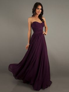Eggplant Colored Chiffon Sweetheart Floor-Length Dress