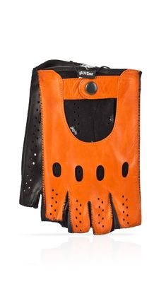Guanto in pelle uomo sfoderato mezze dita Arancio/Nero, disponibile in 7 colori!
