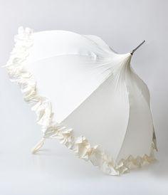 Cream Ruffled Flounce Pagoda Umbrella $34.00 AT vintagedancer.com