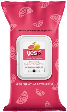 Yes to Grapefruit Brightening Facial Towelettes, smoothing citric acid and glow-inducing vitamin C, $6