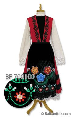 Female Thracian costume from Western Thrace. Costume includes:  Long sleeved shirt with lace. Red dress made of cloth decorated with braid. Black embroidered velvet apron with handmade  lace. Price: €199,00 [http://www.narodninosii.eu/]