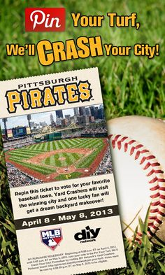 Crash Pittsburgh! Repin this #PittsburghPirates ticket. The city with the most repins gets crashed!