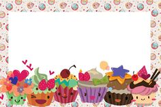 Resultado de imagem para convite de aniversario para editar e imprimir gratis Cupcake Vector, Bakery Logo Design, Party Sweets, Frame Background, Paper Cake, Borders And Frames, Floral Theme, Notebook Covers, Writing Paper