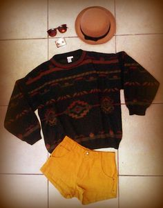 Look of the day... Sunglasses - R150 MIA wooden earrings - R75 Bowler hat - R150 WGACA vintage jersey - R165 Tomboy mustard shorts - R199