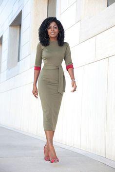 Olive Contrast Sleeve Midi Dress