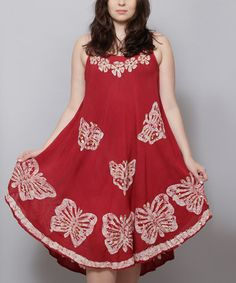 Another great find on #zulily! Red Butterfly Embroidered Midi Dress - Plus #zulilyfinds