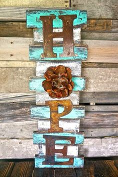 Wooden Pallet Projects Hope Wall Art - Framed etched cross wall art for sale in distressed colors Wooden Pallet Projects, Wood Pallet Signs, Pallet Art, Wood Pallets, Wood Signs, Diy Projects, Recycled Pallets, Project Ideas, Crafts With Pallets